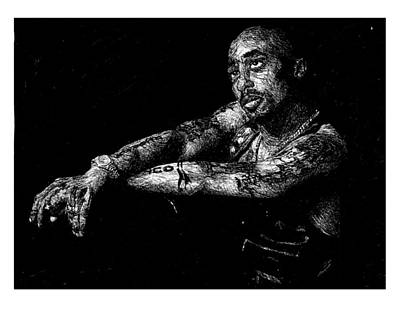 Hop Drawing - Tupac - Only God Can Judge Me by Topher Earl