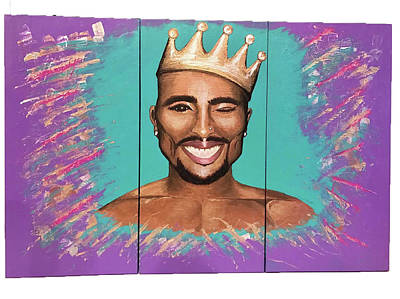 Iridescent Drawing - Tupac Rich In Color by Heather Polgar