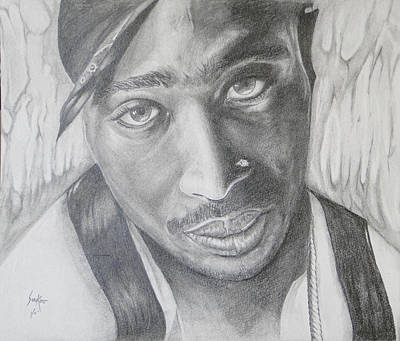 Drawing - Tupac Shakur II by Stephen Sookoo
