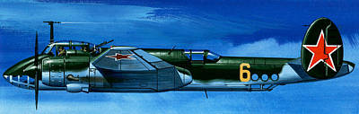 Soviet Painting - Tupolev Tu-2 Russian Bomber by Wilf Hardy