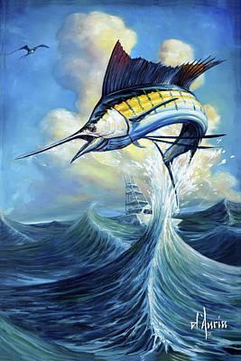 Sports Paintings - Tuppens Sailfish by Tom Dauria