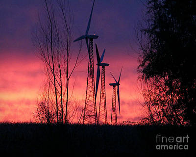 Photograph - Turbines, Trees And Twilight by Kathy M Krause