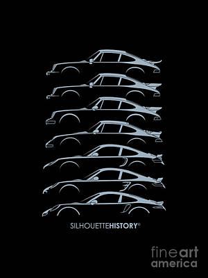 Boxer Digital Art - Turbo Sports Car Silhouettehistory by Gabor Vida