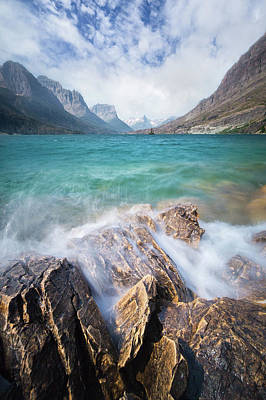 Photograph - Turbulent Shoreline // St. Mary Lake, Glacier National Park  by Nicholas Parker