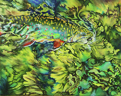 River Rafting Painting - Turbulent Trout by Lacey Hermiston