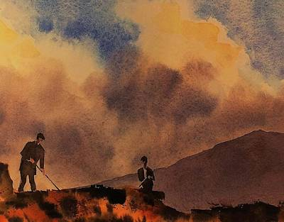 Painting - Turf Cutting On Achill Mayo by Val Byrne