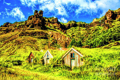 Digital Art - Turf Farms Iceland by Rick Bragan