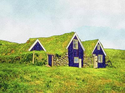 Digital Art - Turf Huts In Skaftafell by Frans Blok