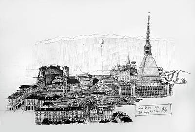 Drawing - Turin, Italy by Anthony Brooks