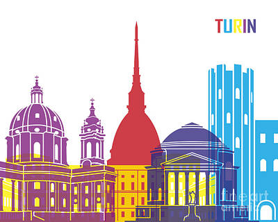 Turin Skyline Pop Art Print by Pablo Romero