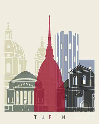 Turin Skyline Poster Art Print by Pablo Romero