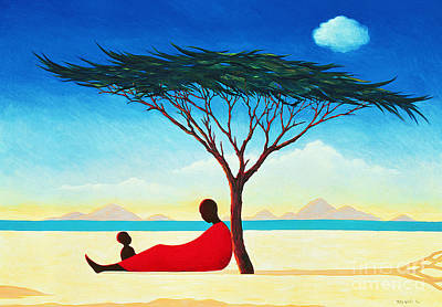Mother And Baby Painting - Turkana Afternoon by Tilly Willis