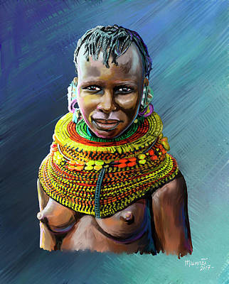 Painting - Turkana Girl by Anthony Mwangi