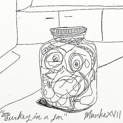 Drawing - Turkey In A Jar by John Stillmunks