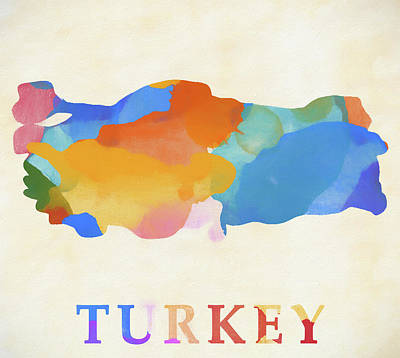 Painting - Turkey Watercolor Map  by Dan Sproul