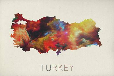 Turkey Mixed Media - Turkey Watercolor Map by Design Turnpike