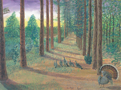 Sun Rays Painting - Turkeys On Bobs Trail by Lori  Theim-Busch