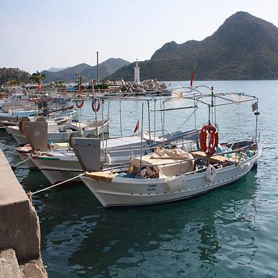 Photograph - Turkish Fishing Boats Moored At Bozburun by Tracey Harrington-Simpson