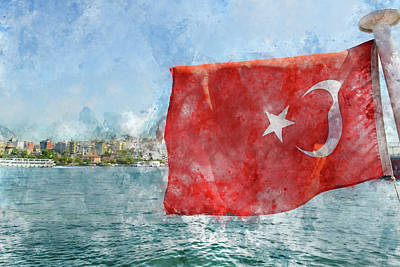 Photograph - Turkish Flag by Brandon Bourdages