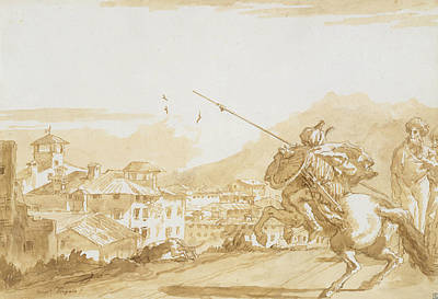 Drawing - Turkish Lancer And Onlookers Approaching A Town by Giovanni Domenico Tiepolo