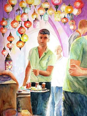 Painting - Turkish Tea At Istanbul Grand Bazaar by Carlin Blahnik