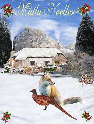 Turkish  Winter Garden Fox And Pheasant Art Print by Eric Kempson