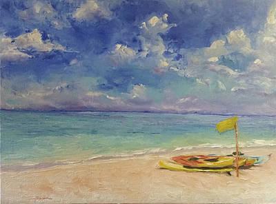 Turks And Caicos Beach Painting Original by Sun Sohovich