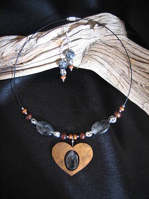 Jewelry - Turminalated Quartz Set In Gourd Wood #h65 by Barbara Prestridge