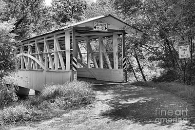 Photograph - Turners Covered Bridge Black And White by Adam Jewell
