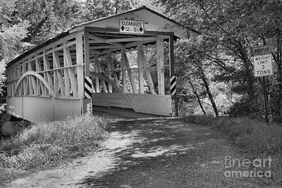 Photograph - Turners Covered Bridge Of Bedford County Black And White by Adam Jewell