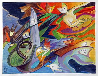 Creativity Drawing - Turning From Inner War To Inner Peace by Monika Kretschmar