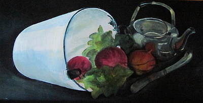 Silver Tea Pot Painting - Turnip Time by Paula Pagliughi