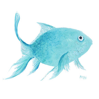 Tropical Fish Painting - Turquois Fish On White by Jan Matson