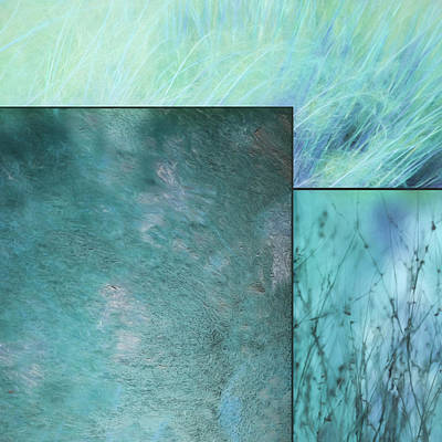 Mixed Media - Turquoise Textures 2 by Lori Deiter