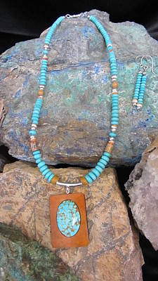 Jewelry - Turquoise #8 In Gourd Wood #r112 by Barbara Prestridge