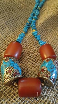 Copper Beads Jewelry - Turquoise Amber, Nepal Tibetan Beads by Diane Greco-Lesser
