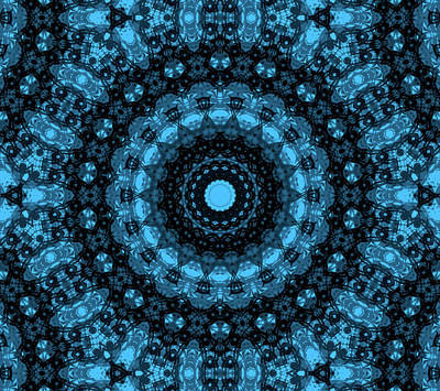 Turquoise And Black Mandala Art Print