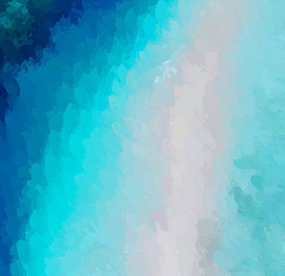 Beach Landscape Mixed Media - Turquoise And Blue by Anthony Fishburne