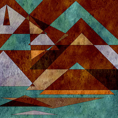 Digital Art - Turquoise And Bronze Triangle Design With Copper by Jessica Wright