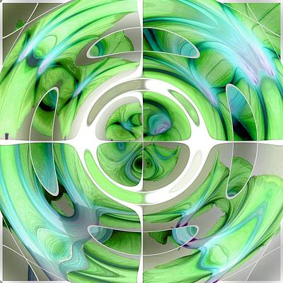 Digital Art - Turquoise And Green Abstract Collage by Tracey Harrington-Simpson