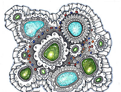 Silver Turquoise Drawing - Turquoise And Lace by Julie Townsend