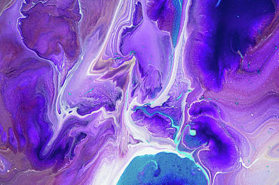 Painting - Turquoise And Purple Flows. Abstract Fluid Acrylic Painting by Jenny Rainbow