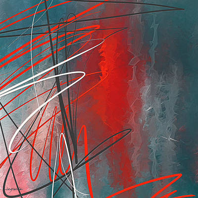 Blue And Red Painting - Turquoise And Red Modern Abstract by Lourry Legarde