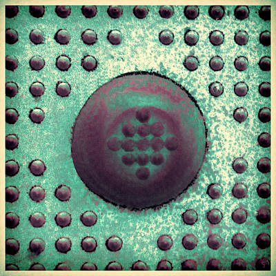 Photograph - Green And Violet Dots In Cube by Tony Grider