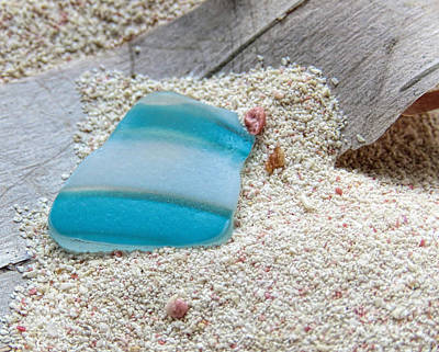 Photograph - Turquoise And White Sea Glass by Janice Drew