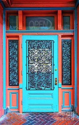 Photograph - Turquoise And Wrought Irondoor by Frances Ann Hattier