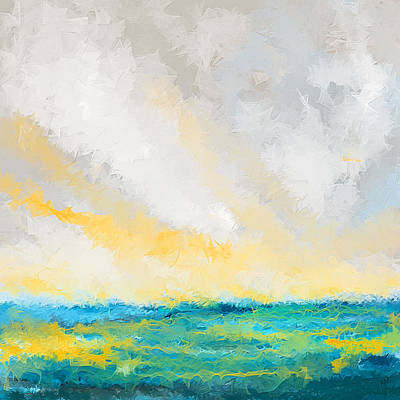 Sunset Abstract Painting - Turquoise And Yellow Art by Lourry Legarde