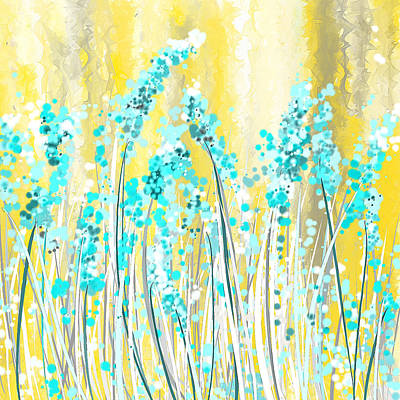 Abstracted Painting - Turquoise And Yellow by Lourry Legarde