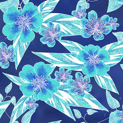 Turquoise Batik Tile 1- Camellia Art Print