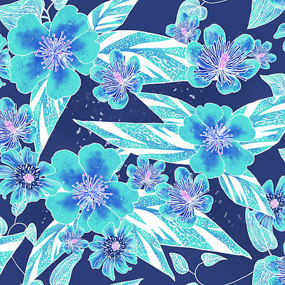 Digital Art - Turquoise Batik Tile 2 - Bidens by Karen Dyson